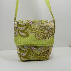 Green and White One of a Kind Cross Body Bag by SewMuchFabric2010, $25.00