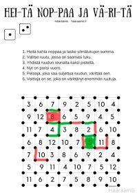 Matematiikkapeli Heitä noppaa ja väritä