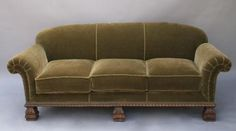 love these comfy old velvet sofas~from the 1920's, I think. Had a red one for years.