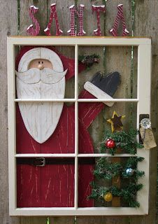 Cute outdoor decoration using old windows. Noel Christmas, Primitive Christmas, All Things Christmas, Winter Christmas, Christmas Projects, Christmas Crafts, Christmas Decorations, Holiday Decor, Painted Window Panes