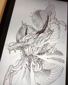 Dragon sketch ✍🏼 should I finish off the entire body ? Dragon Tattoo Styles, Dragon Tattoo Art, Dragon Tattoo Designs, Dragon Art, Carp Tattoo, Japanese Dragon Tattoos, Japanese Tattoo Art, Japanese Tattoo Designs, Body Art Tattoos