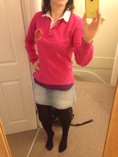 Denim skirt, purple vest top, hot pink collared top, DYT type 4-2 casual