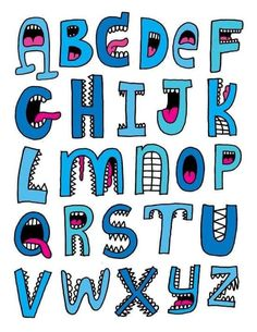 Cool Fonts Alphabet, Hand Lettering Alphabet, Doodle Lettering, Creative Lettering, Graffiti Lettering, Calligraphy Alphabet, Alphabet And Numbers, Calligraphy Fonts, Typography