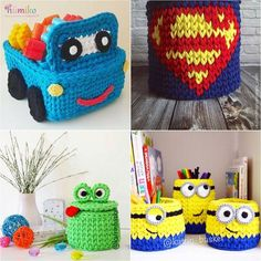 cesta de croche com fio de malha infantil - DIY - artesanato - crochet and knit  basket for kids