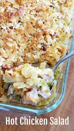 Hot Chicken Salad is a retro mid-century recipe that will charm you with its simplicity. Traditional chicken salad ingredients are combined in a bubbly casserole, topped with a crunchy potato chip and almond crust. Close your eyes and you will be transported back in time. #shockinglydelicious #chickencasserole #chickensalad
