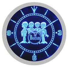 The Beatles Rock Music Neon Sign Bar Wall Clock