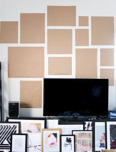 Kraft paper gallery wall planning