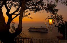 Cruise ship at anchor in the bay of Sorrento on the Amalfi Coast Destinations, Sorrento, Amalfi Coast, Cruise, Boat, Italy, Ship, Lights, Sunset