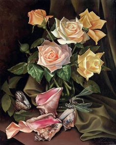 Shells Rose locust Still life DIY oil painting by numbers Europe decoration artwork canvas painting for living room Rose Vase, Flower Vases, Flower Art, Art Floral, Still Life Artists, Large Art, Pretty Flowers, Watercolor Flowers, Unique Art