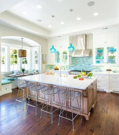 coastal kitchen with turquoise accents