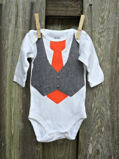 Baby Onesie with Gray Tweed Vest & Patterned Tie using Fabric Applique...or CHOOSE YOUR TIE. $21.00, via Etsy.