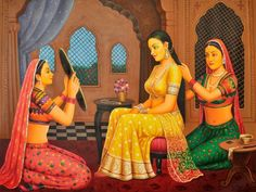 Shringar of The Queen, Oils Oil on CanvasArtist: Anup Gomay Rajasthani Painting, Rajasthani Art, Mughal Paintings, Indian Art Paintings, Indian Artwork, Oil Paintings, Indian Folk Art, Indian Artist, Hindu Kunst