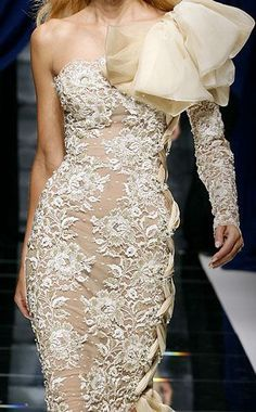 Lace gown with ruffles