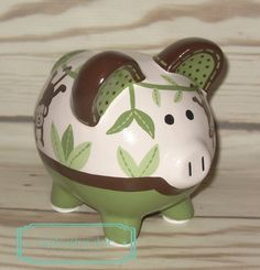 SMALL Sage Green and Brown Monkey artisan hand painted ceramic personalized piggy bank ~ Jungle safari monkey theme