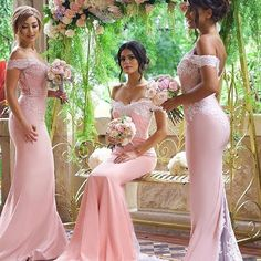 Elegant Blushing Pink Bridesmaid Dress Off-the-Shoulder Long Lace Appliques Maid of Honor Dresses_Wholesale Wedding Dresses, Lace Prom Dresses, Long Formal Dresses, Affordable Prom Dresses - High Quality Wedding Dresses - Yesbabyonline.com