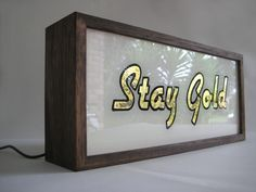 Gold Leaf Gilded Light Box Sign says Stay Gold
