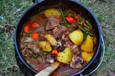 """""""Potjiekos"""" is a traditional Afrikaner dish hailing from South Africa.The difference between a """"potjie"""" and a stew is that a """"potjie"""" is never stirred during the cooking process and is always cooked slowly over hot coals in a cast iron pan."""