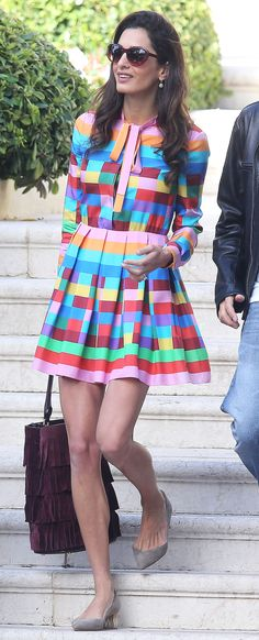 Amal Clooney's Chic Style: Every Can't-Miss Outfit | multicolor Valentino dress