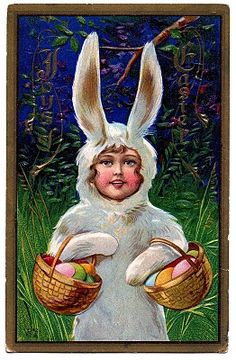 Vintage Easter Clip Art - Sweet Girl in Bunny Suit - The Graphics Fairy