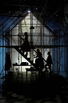"""Scaffolding. Use of silhouettes and back-lighting. Blue and green gels. From a production of """"Turn of the Screw."""""""