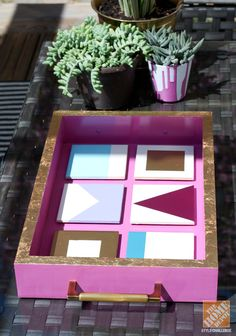 DIY Alert! This tray and accompanying spray-painted coasters make for a great summer project.
