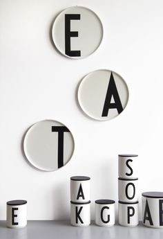 Design Letters porcelain plates with Arne Jacobsen typography A-Z Service Assiette, Lettering Design, Design Letters, Letter Mugs, Letter Art, Arne Jacobsen, Letters And Numbers, Danish Design, Black White