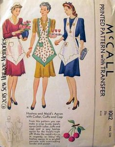 New Pellon Copy Vintage 1942 Hostess Maid McCall Apron Pattern 1012 Retro Apron Patterns, Vintage Apron Pattern, Aprons Vintage, Mccalls Patterns, Vintage Sewing Patterns, Dress Patterns, Print Patterns, Bib Apron, Sewing Aprons