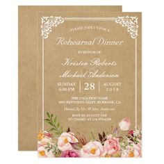 Floral Wedding Rehearsal Dinner Vintage Floral Kraft | Wedding Rehearsal Dinner Card