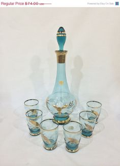 ❘❘❙❙❚❚ ON SALE ❚❚❙❙❘❘     Bohemian Crystal Decanter with six glasses, made in  Czechoslovakia by Bohemia Glass.    The Crystal is a beautiful