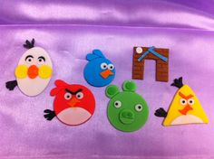 Angry Birds fondant cupcake toppers
