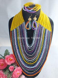FreeShipping!!! A-1496 New Design Multicolor Nigerian Wedding Jewelry Set Women African Beads Jewelry Set $116.98