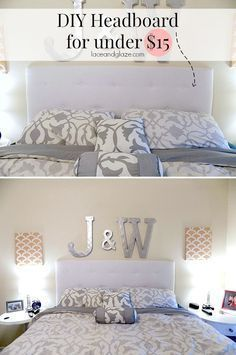 DIY Headboard for under $15! Super easy to make and saves you A LOT of money! Want to know the secret of this DIY? It uses cardboard! #diyheadboard #tuftedheadboard #cheapheadboard