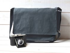GREY CANVAS Messenger bag / Shoulder Bag / Laptop Bag / by ikabags,