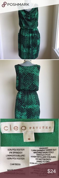"""Cleo Spring Green Blosey Dress. Green and Black. Cleo Spring Green Blosey Dress. Size 10P. Comfy and gorgeous. Green and Black.  Flat lay measurements. Between underarms 18 1/2"""".  Waist has elastic band and measures 14"""" unstretched. Waist to hem 20"""". Size 10P.  Very good condition.Gorgeous.  •••••••••••••This is a FIRM PRICE•••••••••••• Cleo Dresses Midi"""