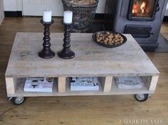 Coffee table made of scaffolding wood Decorating Coffee Tables, Coffee Table Design, Scaffolding Wood, White Washed Furniture, Rustic Coffee Tables, Diy Table, Wood Pallets, Barn Wood, Home And Living