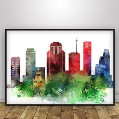 Houston skyline, Houston print, Texas, watercolor, travel, poster, art print…