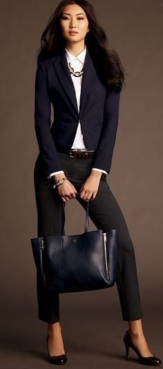 a chic bag and a bold necklace | Ann Taylor Fall 2013 - interesting mix of navy and blue , nice Capri looks with heels