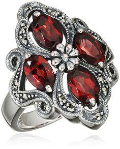Esse 925ΒSilver Garnet Marcasite Women's Ring Size KΒ-ΒL0007R…