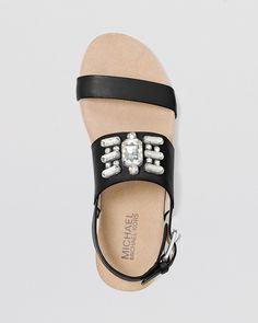 MICHAEL Michael Kors Open Toe Flat Sandals - Luna Jeweled