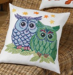 Blue/Green Owls Cushion - cross stitch kit by Permin of Copenhagen - A cute cushion with brightly coloured owls and stars. Cross Stitch Owl, Cross Stitch Animals, Cross Stitching, Cute Cushions, Green Cushions, Needlepoint Stitches, Needlework, Owl Cushion, Valentines Presents