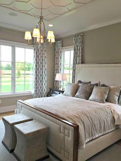 hexagon ceiling treatment in bedroom
