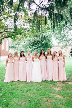 Blush Bridesmaids Gowns | Nikki Santerre Photography | TheKnot.com