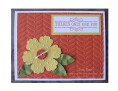 Lots of texture on Sue's card! She used Vintage Verses, Vine Street embossing folder, & Sycamore Street Buttons - all free Sale-a-bration items. The flower is made with the Blossom punch & embossed with Perfect Polka Dots embossing folder.