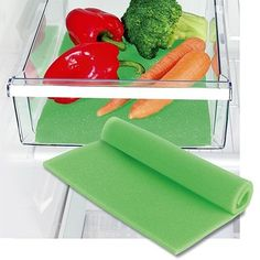 Fruit Life Extender Liner keeps produce fresher longer. Open-cell, foam liner allows air to circulate beneath food in refrigerator bins so fruits and veggies stay crisp and full of flavor. Refrigerator Organization, Pantry Storage, Food Storage, Storage Containers, Kitchen Storage, Kitchen Hacks, Kitchen Gadgets, Kitchen Tools, Cucina