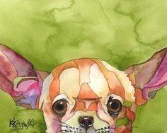 Chihuahua Art Print of Original Watercolor Painting - 8x10 Dog Art. $12.50, via Etsy.