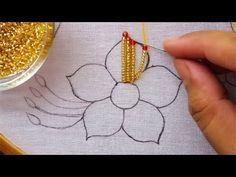 Beaded embroidery flower, hand embroidery fancy flower design - Diy and craft Bead Embroidery Tutorial, Bead Embroidery Patterns, Flower Embroidery Designs, Creative Embroidery, Bead Embroidery Jewelry, Beading Patterns, Flower Designs, Tambour Beading, Tambour Embroidery