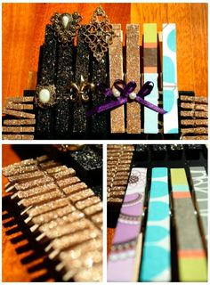 decorated clothespins to hang pictures/jewelry! #crafts #diy #GLITTER