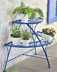 Plant stand. Perhaps may help keep the bugs away...