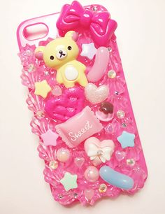 Pink decoden phone case Cute Cases, Cute Phone Cases, Iphone Cases, Kawaii Phone Case, Decoden Phone Case, Rilakkuma, Locker Decorations, Kawaii Room, Marble Iphone Case