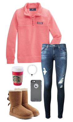 """""""You're insecure, don't know what for"""" by toonceyb ❤ liked on Polyvore featuring Vineyard Vines, AG Adriano Goldschmied, UGG Australia and OtterBox"""